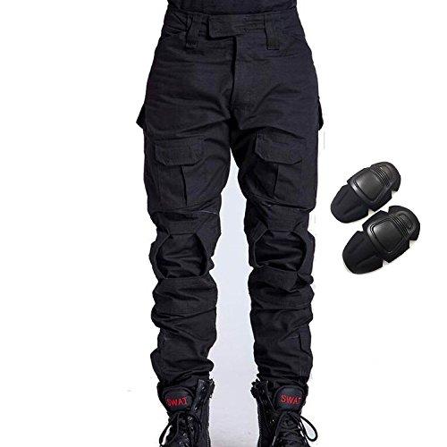 H Welt EU – Pantalones militares del ejército táctico, para airsoft o paintball, pantalones de lucha para hombre con rodilleras, color negro, tamaño medium