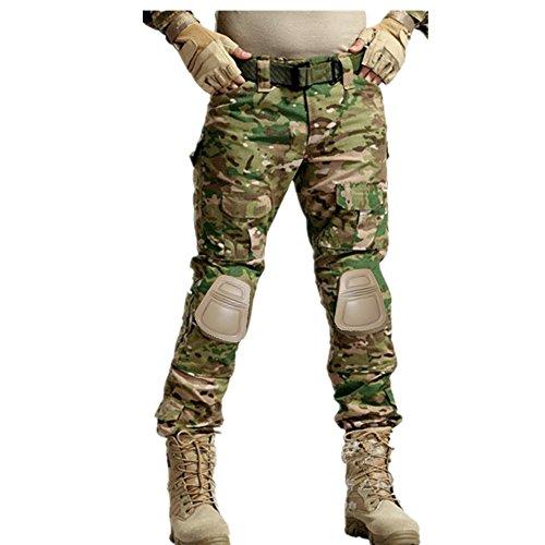 haoYK Pantalones tácticos Militares Paintball BDU Pantalones Airsoft Camo Pantalones Multi-Bolsillo con Rodilleras (XXL (38″))