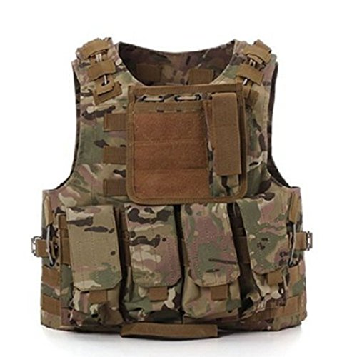 Chaleco táctico militar Molle, para Airsoft, SWAT, Policía, CP Camo