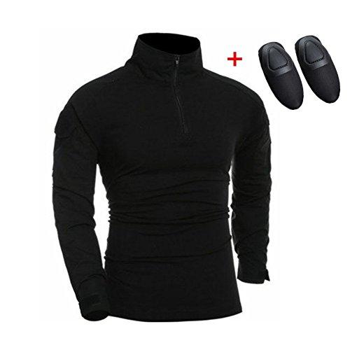haoYK Camisa táctica de Airsoft de la Manga Larga de Paintball BDU Militar Camisas tácticas de Camo con Las Placas de Codo Negro (L)