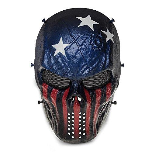 Queenshiny Traje de Halloween de la protección militar de la máscara de Airsoft Paintball del cráneo (Capitán)