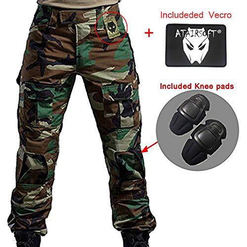 Worldshopping4U Hombres Shooting BDU Combate Pantalones Camuflaje del ejército Pantalones con Rodilleras para ejército Militar Airsoft, WL