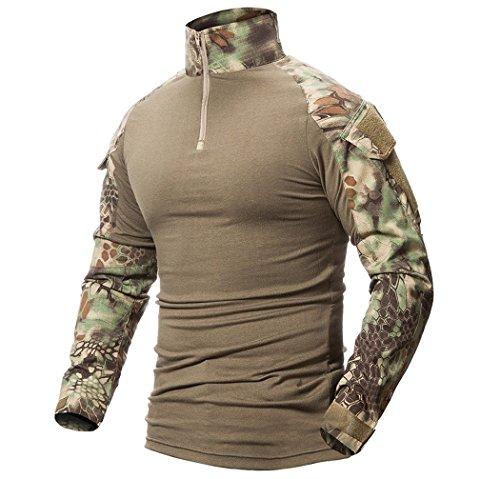 ShallGood Camiseta de Combate Militar Paintball con Bolsillos Camiseta de Manga Larga BDU Airsoft Camo Camisa táctica para Hombres con Coderas A Verde Large