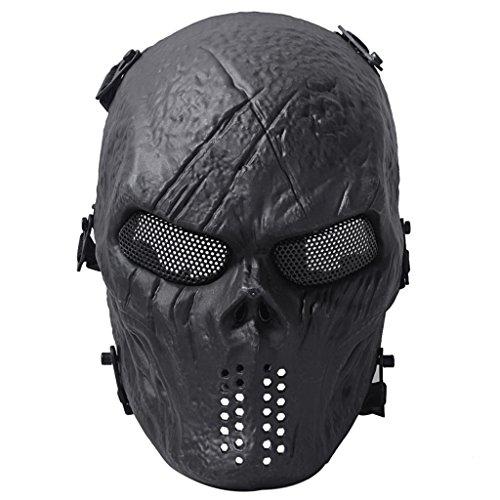 Queenshiny Traje de Halloween de la protección militar de la máscara de Airsoft Paintball del cráneo (Negro)