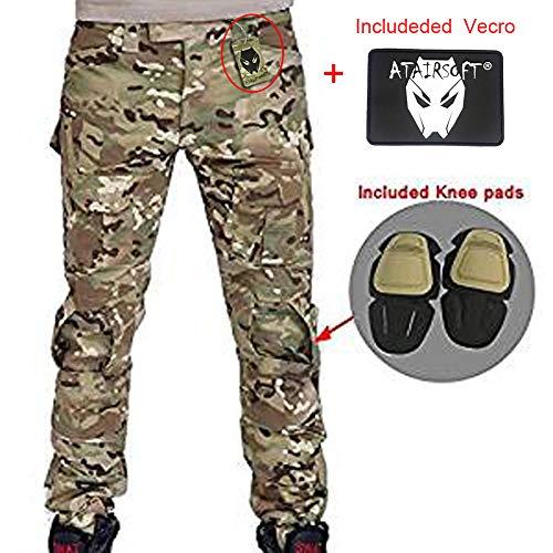 Pantalones de combate para hombres tipo uniforme BDU (Uniforme de battalla) con rodilleras Multicam MC para ejército militar, Airsoft y Paintball., color camuflaje, tamaño medium