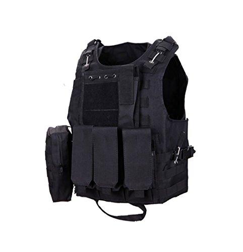 CS Caza Airsoft Paintball Chaleco de Poliéster Exterior Premium Ejército Wargame de Plena Protección con Accesorio Negro Chaleco Tactico Molle (Negro)