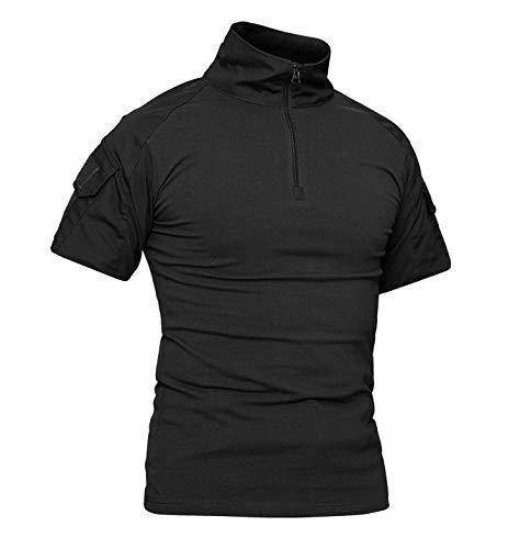 KEFITEVD Camisa táctica de los Hombres Camiseta Militar de Manga Corta Camiseta con Cuello Alto Camisa táctica Uniforme de Airsoft Negro 2XL (Etiqueta: 5XL)