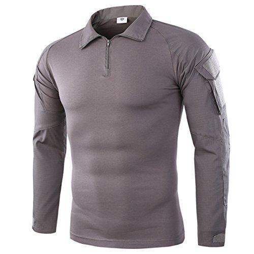 QCHENG Hombres Airsoft Militar Táctico Camisa Largo Manga Camuflaje Combate BDU Camo Camisetas con Cremallera Gris Medium