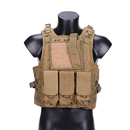 QMFIVE Chalecos Tácticos, Anfibio Chaleco táctico Militar Molle Chaleco Combate Asalto Placa Camuflaje Chaleco del Portador para tactico Airsoft Outdoor (Tan)