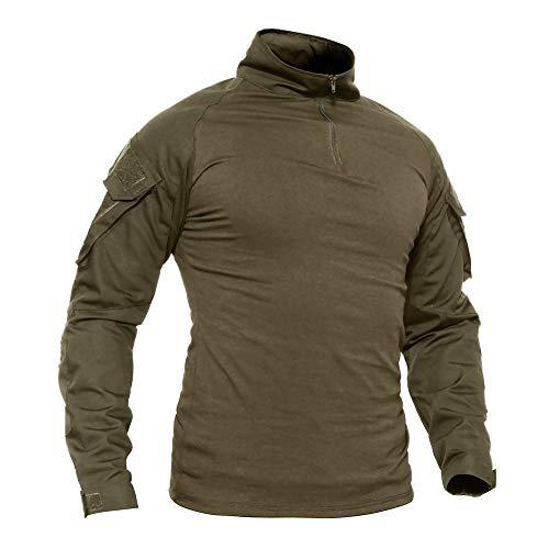 Specter Hombres Airsoft Militar Táctico Camisa Largo Manga Camuflaje Combate Camisetas Delgado Ajuste Material de algodón Ligero y Transpirable (Talla S-XXXL),E,S(Bust:86~91cm)