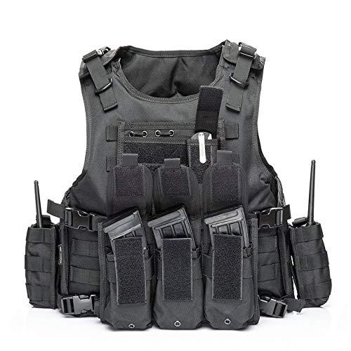 WOLIORS Chaleco táctico Militar Combate Ajustable para policía de Entrenamiento al Aire Libre, Chaleco de Paintball, Black2