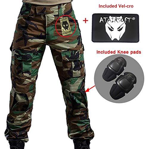 Worldshopping4U Hombres Shooting BDU Combate Pantalones Camuflaje del ejército Pantalones con Rodilleras para ejército Militar Airsoft, Color WL, tamaño Medium