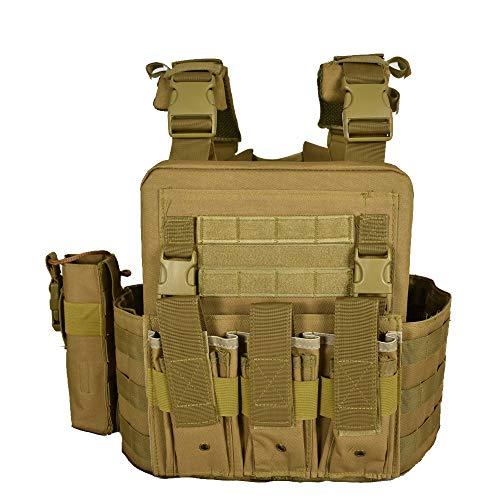 QHIU Chaleco Tácticos Ligero Militar Combate Camo Protección Molle Extraíble Placas para Airsoft Paintball CS Deportes al Aire Libre