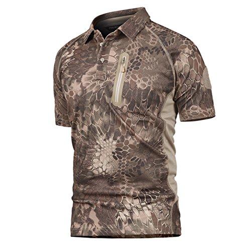 Polo Camuflaje Militar Uniforme táctico de Secado rápido Manga Corta Camiseta de los Hombres Airsoft Combat Caza de la Cremallera Camiseta Pitón Desierto Small