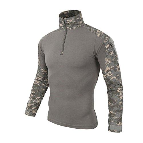 Hombres Airsoft Militar Táctico Camisa Largo Manga Camuflaje Combate BDU Camo Camisetas con Cremallera UPC Small