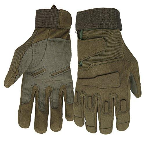Mimicool Guantes al aire libre de los hombres llenos del dedo guantes tácticos militares patín de desgaste contra guantes resistentes ciclo de la bicicleta de la motocicleta (army green, L)