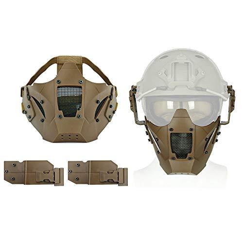 Aoutacc Airsoft Máscara de Media Cara de Malla de Acero para CS/Caza/Paintball/Tiro, Canela