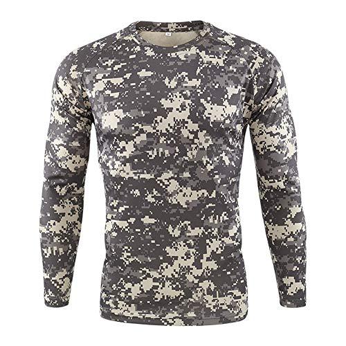 Hombre Camisa Táctica Militar Al Aire Libre Airsoft Paintball Ejercito Camuflaje BDU Camisas de Combate Ligero Transpirable Cuello Redondo Caza Manga Larga Camiseta